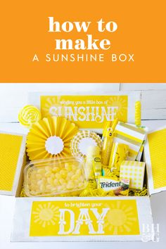 What to put in a Sunshine Box by Lindi Haws of Love The Day Cute Birthday Gift, Birthday Box, Birthday Presents, Birthday Ideas, Cheer Up Gifts, Bff Gifts, Gifts For Friends, Friend Crafts, Box Of Sunshine