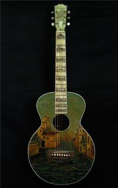 "Gibson Custom L-1, sn 9225, c. 1928  © JONATHAN SINGER, 2009  A one of a kind Gibson Presentation guitar, hand painted by Gibson with scenes of Venice and other locales on the front, sides and back inspired by the Gibson Florentine banjos. 13.75"" wide, 24.25"" scale, mahogany back & sides, spruce top gold engraved tuners with mother of pearl buttons"