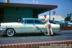 The sparkling clean car is a 1955 Mercury Montclair finished beautifully in aqua and cream, inside and out. This model was among the first of the 50s cars to be recognized as a classic. Thankfully the location of where this ultra rare car wash shot was taken is revealed in the background by the space age LAKEWOOD CENTER sign.