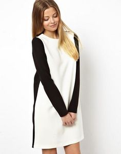 ASOS Shift Dress With Contrast Panel