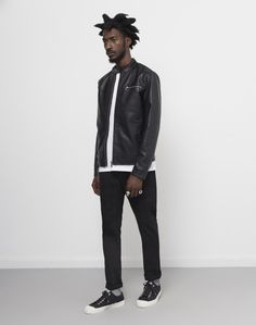 The Idle Man Faux Leather Racer Jacket Black #StyleMadeEasy