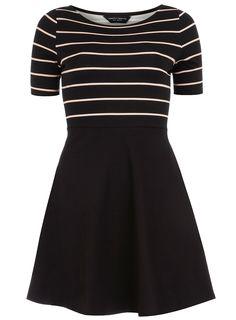 DP Black and Nude Stripe Flare Dress