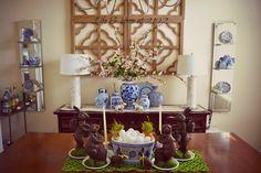 blue & white, Easter dining room decor