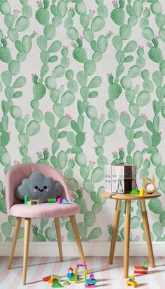 Obsessing over pink and green? This adorable cactus wallpaper is super stylish yet subtle way to introduce this colour way into your home. It works wonderfully in kid's bedrooms and play spaces!