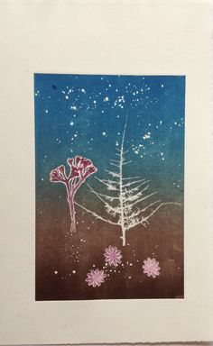 Untitled (By starlight): Monoprint on Stonehenge paper. Image size 12.5cm x 19cm. SOLD
