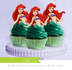 Ariel Cupcake Toppers, The Little Mermaid, Princess Ariel, Disney Princess, Ariel Birthday, Ariel Party, Ariel Cake Topper, Decoration