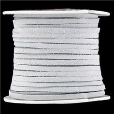 """1/8"""" White Suede Lace on Spool 