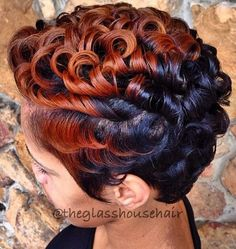 Dyed and curled perm cut love the style color is a little too bright for my taste but works