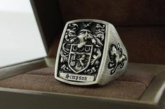 Original mens ring signet ring crest ring custom made for more information contact 3dheraldry@gmail.com