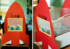 The Claw Game: Have the game up on a table so the kids could look through the window while they tried to get prizes with tongs. The prizes were fruit leather and organic suckers taped to paper aliens, as well as green glow bracelets.