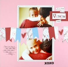 Cheerful Valentine Scrapbook Layout    supplies available directly from me or my website: www.myCMsitelcom/cathywallin
