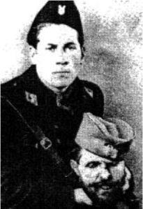"Vjekoslav ""Maks"" Luburić, notorious Croatian butcher, ' general', commander of the Jasenovac concentration camp, commander of the Croatian Crusaders, here with a cut off Serbian head."