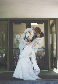 Kiss! Modest wedding dress - temple wedding Image by Tiffany Barton