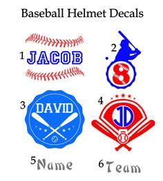 Baseball Helmet Decals, Personalize Baseball Helmet Decal, Baseball Sticker, Helmet Decal by VinylDezignz on Etsy https://www.etsy.com/listing/224678239/baseball-helmet-decals-personalize