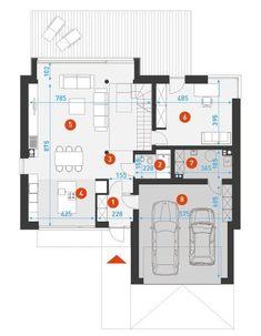 DOM.PL™ - Projekt domu DZW ATRAKCYJNY 1 CE - DOM DW1-43 - gotowy koszt budowy Concept Home, House Layouts, Exterior Design, Architecture Design, Floor Plans, 1, Houses, Elegant, Medium