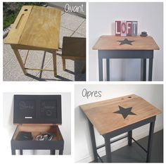 Un bureau d'écolier au relooking industriel - Upcycled Home Decor, Upcycled Furniture, Painted Furniture, Diy Home Decor, Room Decor, Room Interior, Interior Design Living Room, Casa Kids, Ikea Desk