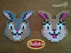 From Bambi: Thumper and Miss Bunny !!! Perler Bead Creation by: RockerDragonfly