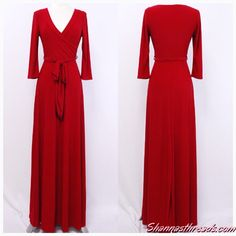 Red Maxi Long Solid Dress | #Shannasthreads