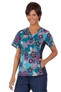 """Peaches Uniforms Abby Top in """"Tribal Accents"""" 4294-TRAC Abby Print Top#4294  100% Cotton  Classic v-neck top  Side knit panel  Hidden side panel pockets  XS-3X $23.40 #scrubs #scrubcouture #nurses"""