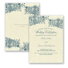 paisleys posies wedding invitation faux parchment typography at invitations by davids bridal - Davids Bridal Wedding Invitations