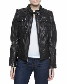 MICHAEL Michael Kors  Double-Pocket Leather Jacket. Much better in person....Love it!!!! (not so shiny) :)