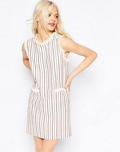 ASOS Stripe Shift Dress in Natural Fibre