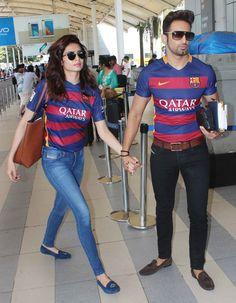 Upen Patel and Karishma Tanna at Mumbai airport. #Bollywood #Fashion #Style #Beauty #Hot #Punjabi