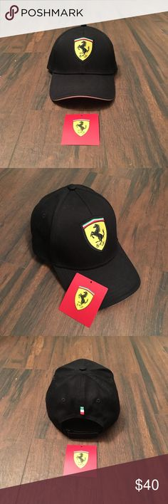 Formula 1 Scuderia Ferrari Classic Black Cap Purchased at 2017 Formula 1 United States Grand Prix. Only worn once. My head, unfortunately, is too small for this cap to fit properly. Velcro adjustment strap. Italy flag colors along bill rim and little Italian flag on back of cap. Bill underside is solid red. Ferrari Accessories Hats