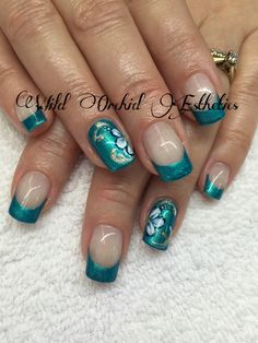Turquoise. Aqua gel nails. Hand painted flowers. Gel paint. French.