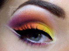 Tropical neon eye makeup by grzee