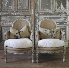 [CasaGiardino] ♛ Antique French Bergere Chairs from Full Bloom Cottage French Furniture, Find Furniture, Cheap Furniture, Rustic Furniture, Vintage Furniture, Painted Furniture, Furniture Design, French Decor, French Country Decorating