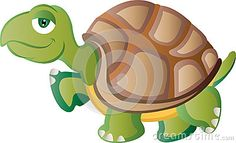 Cartoon tortoise walking with calm expression.