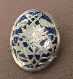 Victorian Water Lily Brooch Inlaid Silver On by SarahAndJohns, $165.00