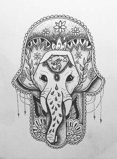 hamsa and an elephant tattoo sketch Hamsa Tattoo Design, Tattoo Designs, Hamsa Design, Future Tattoos, Love Tattoos, Tatoos, Image Elephant, Elephant Meaning, Tribal Elephant