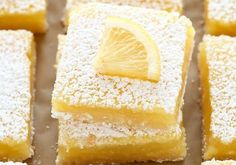 These Classic Lemon Bars feature an easy homemade shortbread crust and a sweet and tangy lemon filling. These bars are so easy to make! Doubled the recipe and made on a cookie sheet. So good and pretty easy too! Lemon Desserts, Lemon Recipes, Just Desserts, Sweet Recipes, Baking Recipes, Delicious Desserts, Dessert Recipes, Yummy Food, Baking Pan