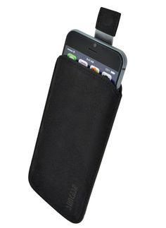 iPhone 6 (4.7 Zoll) Leder Etui *Ultra Slim* Tasche Handytasche Original Suncase® Ledertasche Schutzhülle Case Hülle (mit Rückzuglasche) - velours schwarz