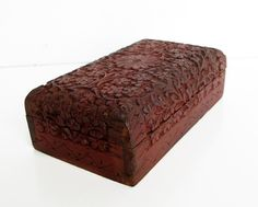 Vintage Carved Wood Box Made in India Jewelry Box Dresser by Sfuso