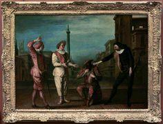 Claude GILLOT Langres, 1673 - Paris, 1722  Le tombeau de Maître André  Vers 1716 - 1717  H. : 1 m. ; L. : 1,39 m.  Cette scène, extraite d'une farce de Brugière de Barante, Le tombeau de Maître André, créée au théatre italien en 1695, s'inspire d'une fable de La Fontaine, L'huître et les deux plaideurs. Mezzetin et Scaramouche se disputent une bouteille. Pris pour arbitre, Arlequin en profite pour boire le vin.