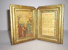 Vintage Italian Florentine Toleware Wood Book A SIMPLE PRAYER St FRANCIS  #Victorian #Florentia