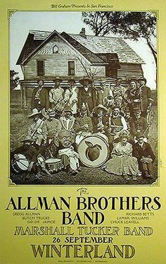 The Allman Brothers Band Concert Poster 1973 Marshall Tucker Band - Winterland