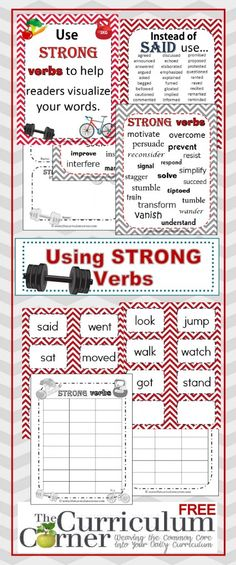 Strong Verbs Anchor Chart | classroom activities | graphic organizers FREE from The Curriculum Corner