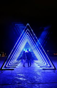 Lighten Up Copenhagen with Winter Light Festival Interactive Light Installation The Wave at Ofelia Plads Copenhagen Event Lighting, Stage Lighting, Neon Lighting, Lighting Ideas, Club Lighting, Light Art Installation, Interactive Installation, Stage Design, Event Design