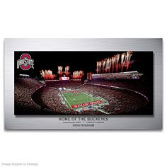 Shop The Bradford Exchange for Ohio Stadium: Home Of The Buckeyes Wall Decor. Buckeyes® pride runs deep, especially at Ohio Stadium®. On game day there's an expectant, ecstatic energy as the Ohio State University® Marching Band fires up the crowd, the. Ohio State Decor, Ohio State Wreath, Buckeyes Football, Ohio State Buckeyes, Game Room Basement, Basement Ideas, Ohio Stadium, State Image, Bradford Exchange