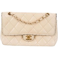 Pre-owned Chanel Classic Medium Flap Bag ($2,200) ❤ liked on Polyvore featuring bags, handbags, neutrals, chanel, quilted leather purse, cream purse, pink hand bags and hand bags