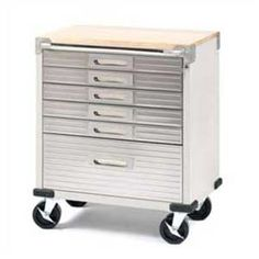 Seville Classics UltraHD Rolling Cabinet This steel rolling cabinet comes with 6 cushion lined drawers and stainless steel drawer fronts, a solid hard Lockable Storage Cabinet, Storage Cabinet With Drawers, Metal Storage Cabinets, Small Drawers, Wood Cabinets, Garage Storage, Storage Cart, Garage Cabinets Diy, Box Storage