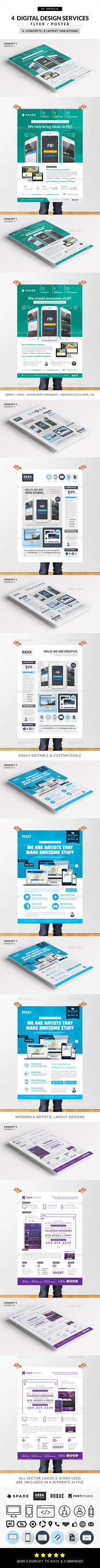 4 Design (Web/App/Graphic) Services Flyer/Poster Template. Available for sale for only $12.
