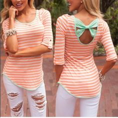 Striped Bowknot Blouse☀️ ❌Do Not Buy This Listing.❌ ✅Tag me with your size & I will make a listing for you✅ Material is Polyester, Cotton Blends Measurements ➡️Medium Bust 35.43 Waist 34.65 Length 24.80 Sleeve Length 18.70 ➡️Large Bust 37.01 Waist 36.22 Length 25.20 Sleeve Length 18.70 Boutique Tops Blouses