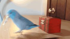 Charlie, the parrotlet, puts coins in his treasure chest. Gif.