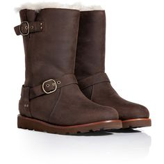 Rugged yet stylish, these sturdy-soled leather boots from UGG Australia boast a cozy shearling lining and a resilient waterproof exterior - Chunky rubber sole,…