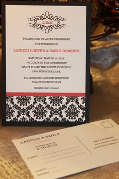 Style, Elegant Black Damask Wedding Invitations    *Note* Red outline shown on sample can be changed to ANY color.    These beautiful wedding